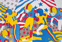 vintage fabric with American football pattern