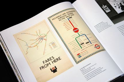 "page from ""London Underground Maps - Art, Design and Cartography"" by Louise Dobbin showing a poster advertising the Piccadilly Line Extensions"