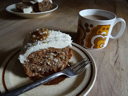 slice of carrot & coconut Bundt cake with mug of tea | H is for Home