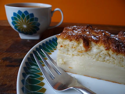 slice of magic cake with a cup of tea | H is for Home