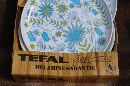vintage green patterned Tefal melamine plates