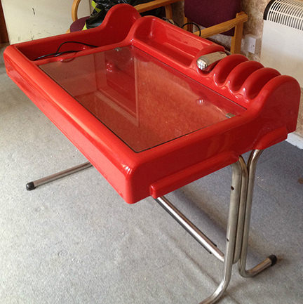 Red vintage 1970s Molteni Orix desk for sale by & in support of Katharine House Hospice, Stafford