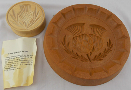 two vintage 1970s Scottish shortbread moulds for sale on eBay for Charity in support of the British Heart Foundation