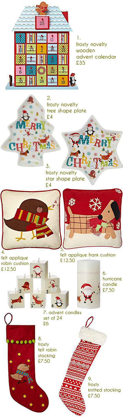 selection of festive Christmas items available on the House of Fraser website