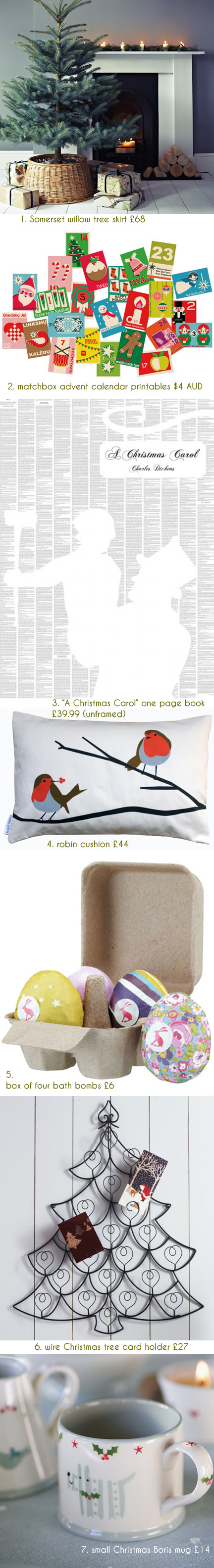 selection of festive Christmas items for sale by various independent retailers & makers