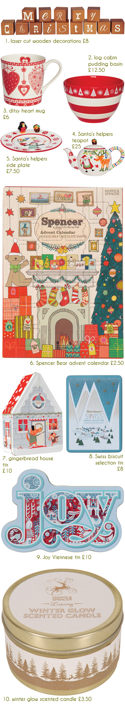 selection of festive Christmas items available at Marks and Spencer
