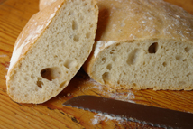 sliced, homemade ciabatta