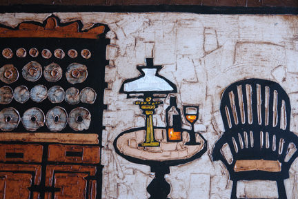 detail of a vintage Colin Ruffell oil painting showing dressing Welsh dresser, Windsor chair and wine bottle & glass and oil lamp on a table