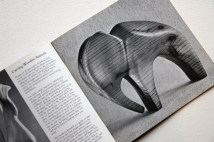 pages from a vintage craft booklet showing hand carved wooden elephant