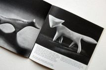 pages from a vintage craft booklet showing hand carved wooden fox