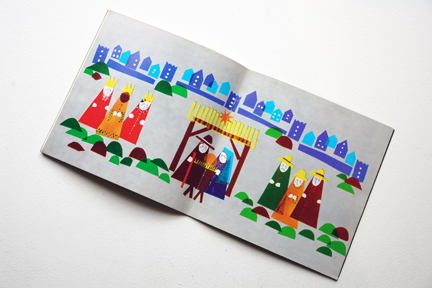 page from a vintage craft booklet showing nativity scene illustrations