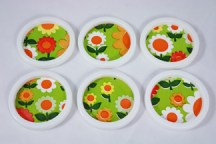 set of vintage flower patterned coasters