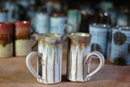 collection of pottery espresso mugs hand thrown, glazed and decorated by Damian Keefe