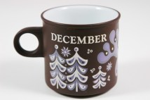 "vintage ""December"" mug produced by Hornsea Pottery"