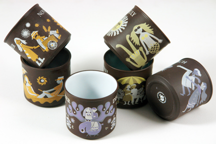 group of vintage month mugs produced by Hornsea Pottery