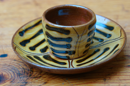 vintage slipware egg cup produced by TerryBaun