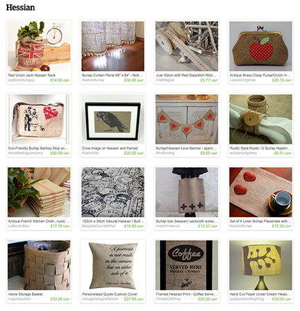 'Hessian' Etsy List from H is for Home