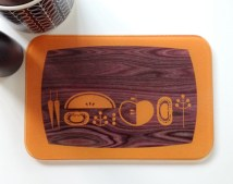 &quot;The Mid Century Kitchen&quot; wooden chopping board digital print by Amanda Shufflebotham aka Graffikheart