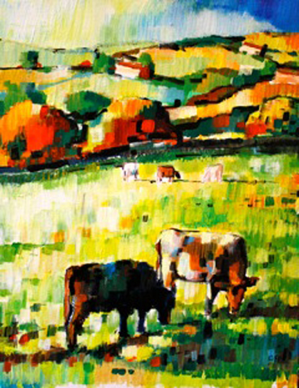 painting of cows in a field by Olivia Pilling