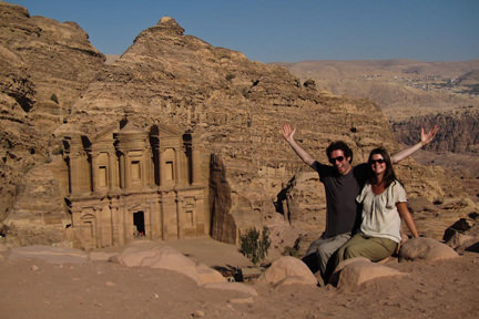 Simon & Erin outside a monastery in Petra