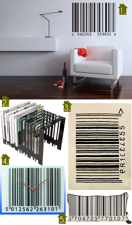 selection of barcode themed homewares