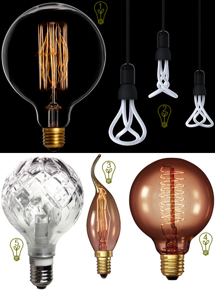 selection of 5 fancy light bulbs