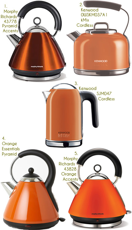 selection of five orange kettles