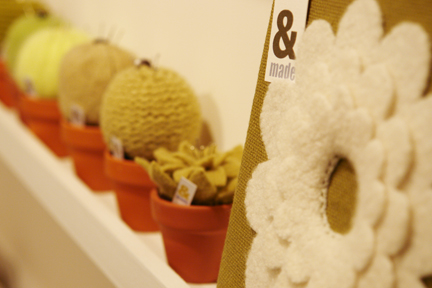 cushion and cacti-shaped pin cushions in terra cotta pots from &made who exhibited at Great Northern Contemporary Craft Fair 2010