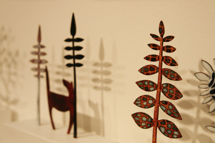handmade enamelled copper nature-inspired figures by Janine Partington who exhibited at Great Northern Contemporary Craft Fair 2010