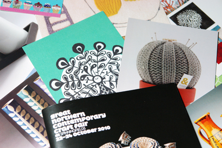 collection of postcards and business cards from artists & craftspeople exhibiting at Great Norther Contemporary Craft Fair 2010