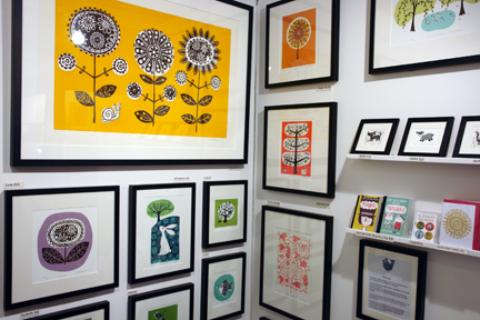 colourful handmade screen prints, etchings and lino cuts by Ruth Green who exhibited at Great Northern Contemporary Craft Fair 2010