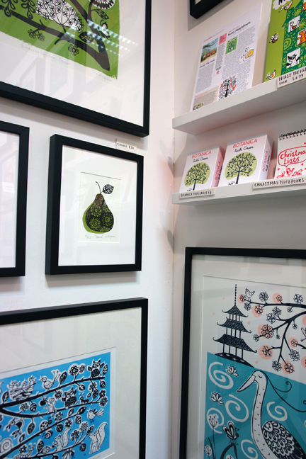 display of Ruth Green's limited edition prints, posters and illustrated books &amp; notebooks