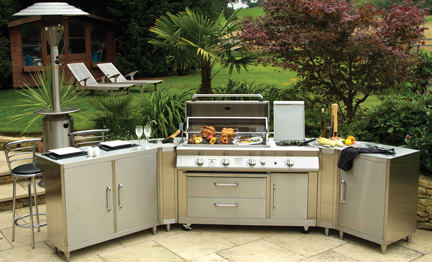 industrial sized stainless steel bbq with drawers, cupboards &amp; work surfaces