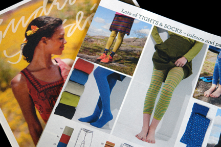pairs of colourful tights in a Gudrun Sjoden mail order catalogue