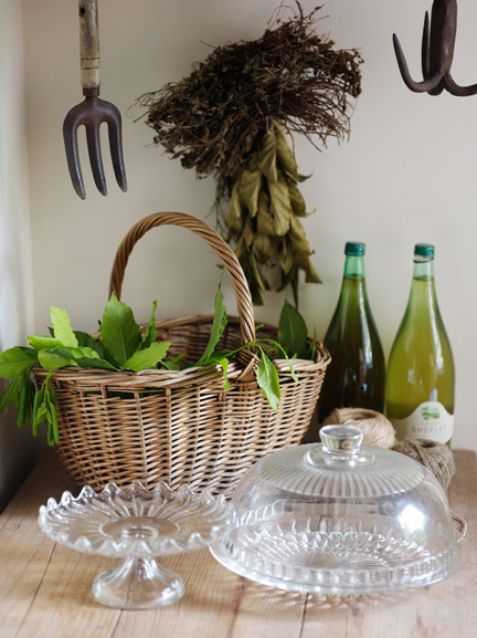 Detail of basket and bottles in H is for Home's larder