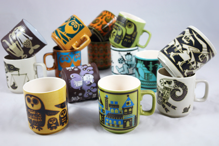 collection of vintage Hornsea Pottery mugs