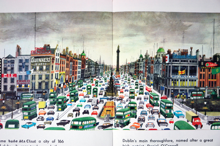 page from vintage book, &quot;This is Ireland&quot; by Miroslav Sasek featuring the busy main thoroughfare, O'Donnell Street
