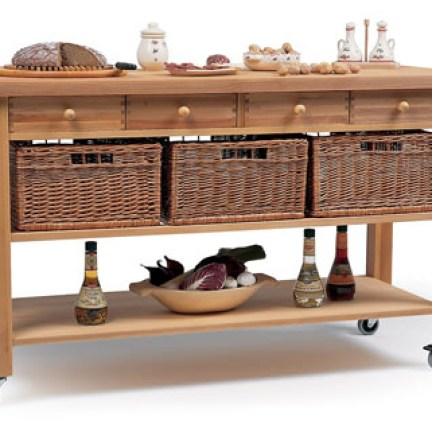 butcher's trolley on castors with wicker basket storage, drawers, under shelf and horizontal metal bar for hanging utensils or tea towel
