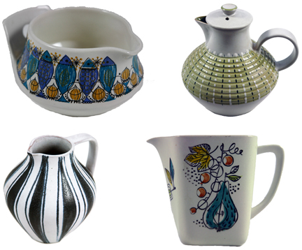mosaic of four vintage jugs