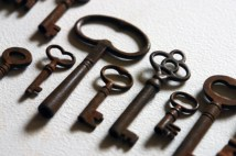 row of antique keys