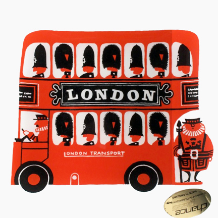 vintage Chance Glass pin dish featuring a London double-decker bus designed by Kenneth Townsend