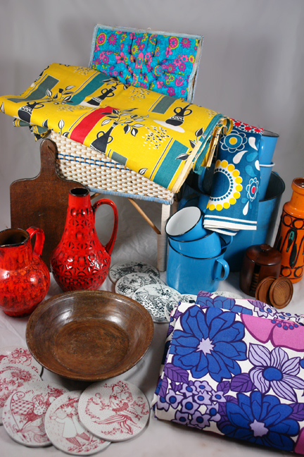selection of antique &amp; vintage homewares bought at Lincoln Show including a bolt of vintage 1950s fabric, set of sky blue Czech enamel containers, circular Nymolle pottery plaques designed by Bjorn Wiinblad, trio, vintage Marks and Spencer blue and purple floral curtains of fat lava West German vases and antique 18th/19th century wooden pie/bread peel