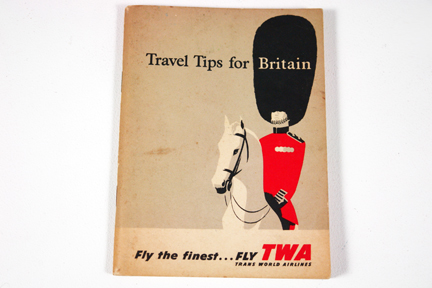 vintage TWA &quot;Travel tips for Britain&quot; booklet with illustration of Coldstream Guard