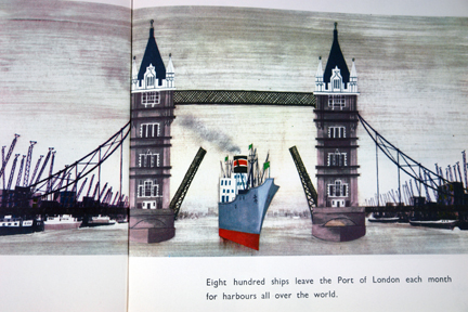 "illustration depicting a ship on the Thames passing under Tower Bridge taken from vintage ""This is London"" book by Miroslav Sasek"