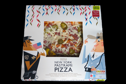 Marks and Spencer New York pepperoni pizza box illustrated with characters of a cop and Texan tourist wearing a stetson