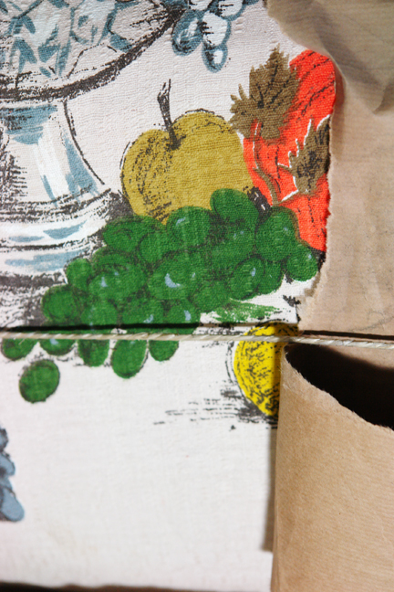 close up of vintage David Whitehead fabric with fruit pattern
