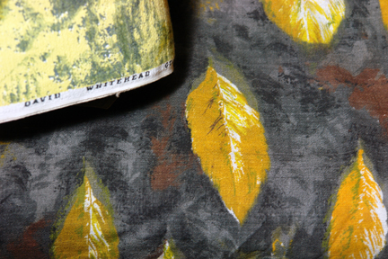 close up of vintage David Whitehead fabric with leaf pattern
