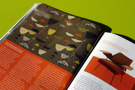 image of Lucienne Day Olive Calyx pattern and Robin Day armchair from the Pallant House Gallery exhibition review in the 1st edition of Midcentury Magazine