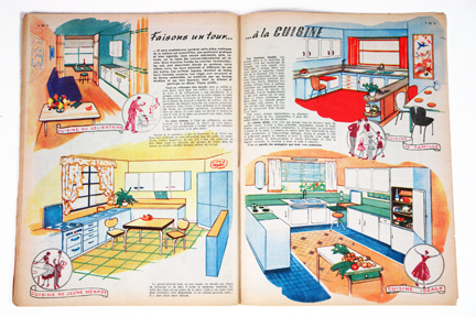 "Kitchens feature from a vintage 1950s French ""L'Echo de la Mode"" magazine"