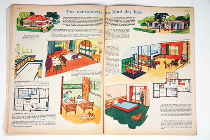 "Feature on maisonettes from a vintage 1950s French ""L'Echo de la Mode"" magazine"